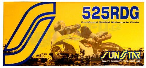 Řetěz 525RDG, SUNSTAR - Japonsko (barva černá, 108 článků)