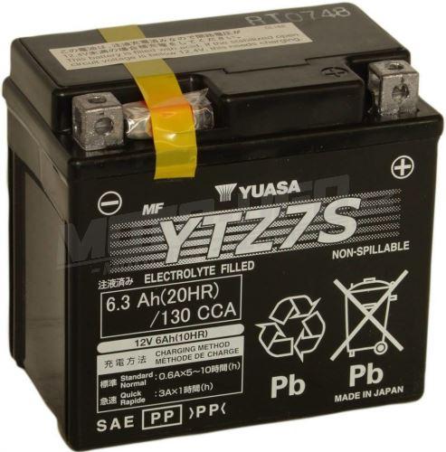 YUASA baterie YTZ7S (12V 6,3Ah) aktivovaná ve výrobě
