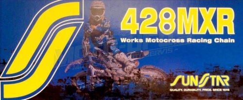 Řetěz 428MXR, SUNSTAR - Japonsko (barva zlatá, 122 článků)