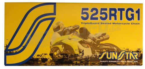 Řetěz 525RTG1, SUNSTAR - Japonsko (barva zlatá, 114 článků)