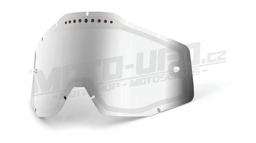 Plexi Dual Racecraft/Accuri/Strata, 100% - USA (stříbrné chrom Vented, Anti-fog)