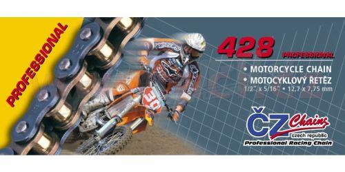 Řetěz 428MX, ČZ - ČR (barva zlatá, 122 článků vč. rozpojovací spojky CLIP)