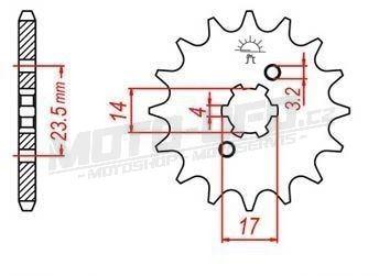 Řetězové kolečko pro sekundární řetězy typu 420, JT - Anglie (12 zubů)
