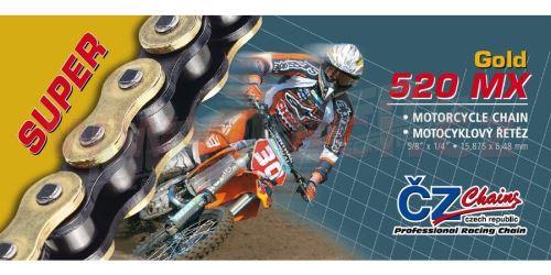 Řetěz 520MX, ČZ - ČR (barva zlatá, 118 článků vč. rozpojovací spojky CLIP)
