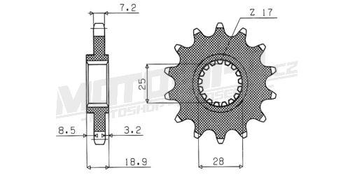 Řetězové kolečko pro sekundární řetězy typu 525, SUNSTAR - Japonsko (16 zubů)
