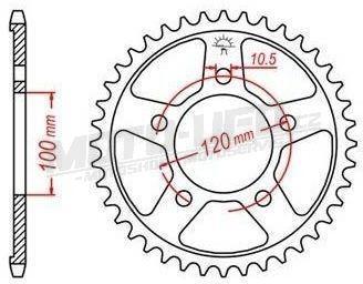 Ocelová rozeta pro sekundární řetězy typu 525, JT - Anglie (42 zubů)