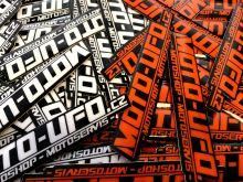 MOTO-UFO samolepka logo TLUSTÁ MX FOLIE 100x20mm oranžová - 1kus