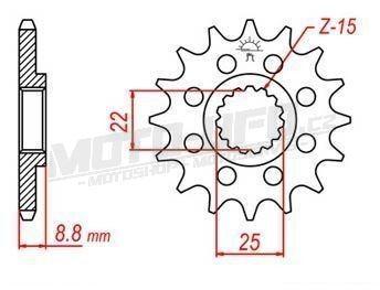 Řetězové kolečko pro sekundární řetězy typu 520, JT - Anglie (14 zubů)