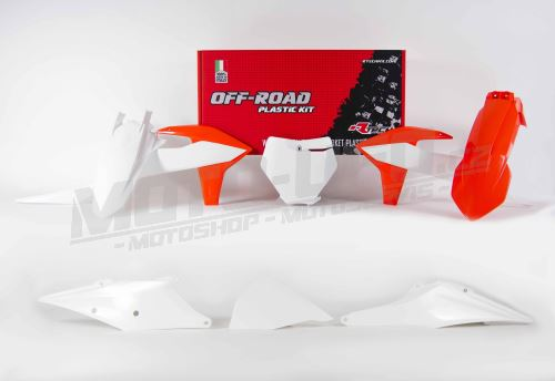 Sada plastů KTM, RTECH (oranžovo-bílá, 6 dílů, vč. L krytu vzduch filtru)